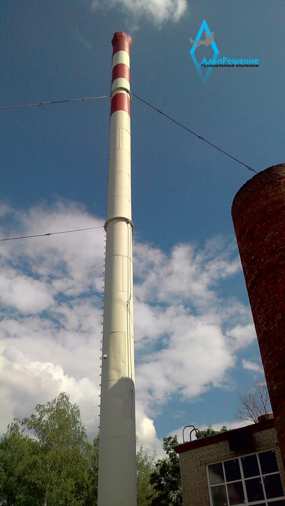 Покраска дымовой трубы в Митяево выполнена