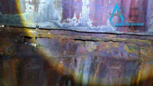 Коррозия нижний части дымовой трубы изнутри
